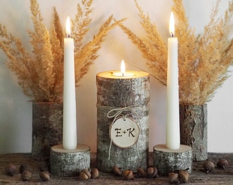 Wedding Ceremony Candles and Holders Set, Personalized Rustic Unity Candle Holders, Wooden Country Wedding Decor