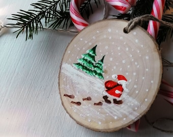 Wooden Christmas Ornament, Hand Painted Santa Clous Coming To Town, Natural Wood Slice Christmas Tre Decoration, Christmas Gift