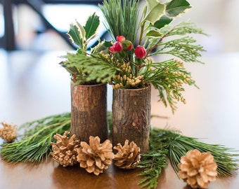 Five Wooden Cylinder Vases, Rustic Home Decor, Wedding Table Centerpiece, Hygge Home Decor