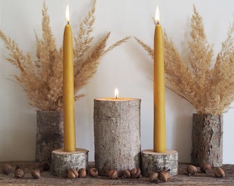 Rustic Wedding Ceremony Unity Candle Set, Natural Beeswax Candles with Alder Tree Branch Holders and Vases,  Eco Friendly Wedding Decor