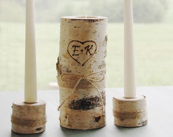 Personalized Birch Branch Unity Candles, Rustic Wedding Ceremony Candle Holders With Burned Initials