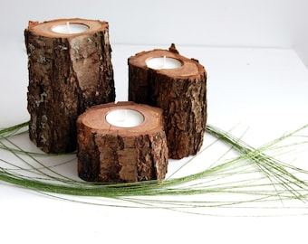 Tree Branch Candle Holders Set Of 3, Wooden Tealight Holders, Hygge Decor, 5th Anniversary Gift, Reclaimed Wood Candles