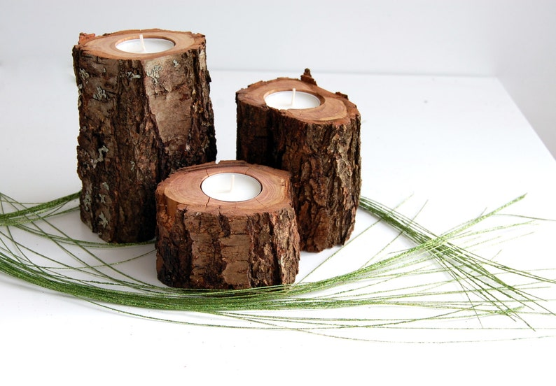 Tree Branch Candle Holders Set Of 3 Wooden Tealight Holders image 0