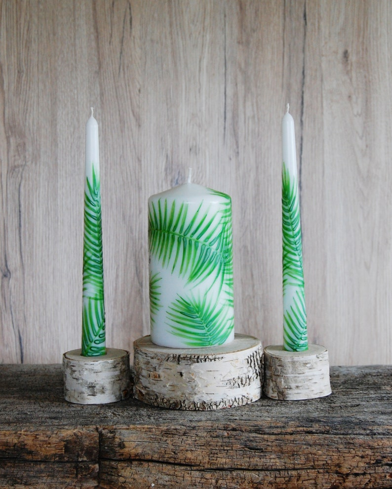 Unity Candle Holder Set Birch Bark Taper and Cylinder ...