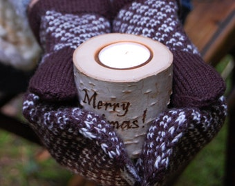Personalized Birch Branch Candle Holder, Cute Cozy Christmas Gift With Burned Greeting, Hygge Home Decor