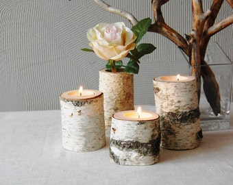 Tree Branch Candleholders Set Of 3, Wooden Tealight Holders, Rustic Home Decor, Hygge Home, 5th Anniversary gift, Christmas Gift