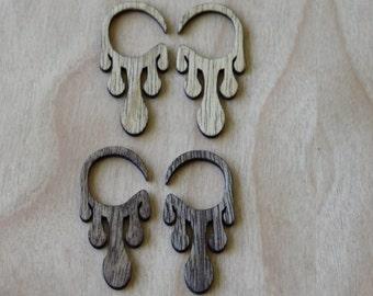 6 calibre boucles d'oreilles bois en érable/merisier, cadeau d'anniversaire, 5e anniversaire, la Saint-Valentin, cadeau de Noël, Laser découpe de bois, vacances