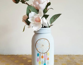 Painted Mason Jar, Dreamcatcher Mason Jar, Dreamcatcher Decor, Boho Mason Jar, Boho Decor, Boho Room Decor, Dreamcatcher, Pastel Mason Jar