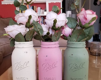 Ivory Pink and Green Mason Jars, Vintage Mason Jars, Painted Mason Jars, Mason Jar Vases, Rustic Home Decor, Home Decor
