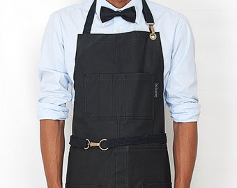 No-Tie Apron - Coated Panther Black Denim - Black Leather - Split-Leg