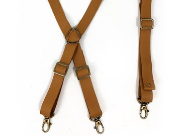 Genuine Leather Strap Set for Apron - Fully Adjustable Cross-back Style - Beige Leather - Vintage Brass Hardware