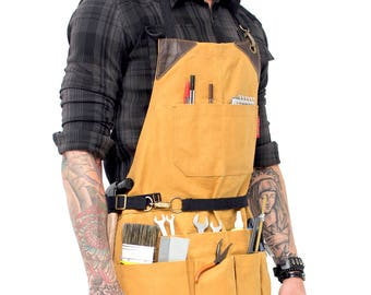 Tool Apron - Khaki Waxed Canvas - Brown Leather