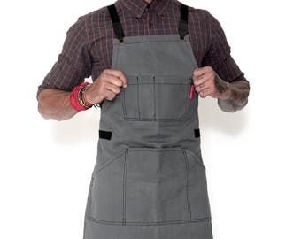 Essential Heavy Duty Cross-Back Apron - Gray Waxed Canvas - Black Leather
