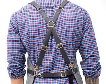 Cross-Back Leather Straps Cargo Apron - Heavy-Duty Gray Waxed Canvas - Split-Leg