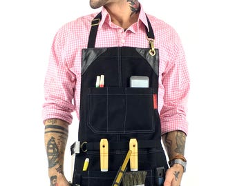 Tool Apron - Black Waxed Canvas - Black Leather