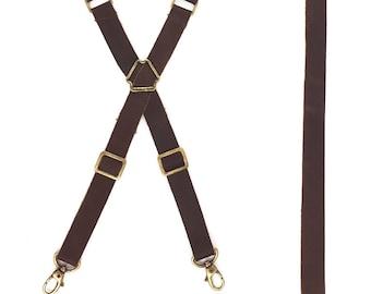 Genuine Leather Strap Set for Apron - Fully Adjustable Cross-back Style - Brown Leather - Vintage Brass Hardware