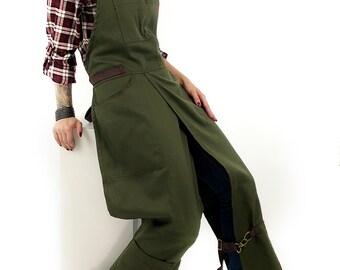 Full Overlapping Split-Leg Apron - Pottery Cross-Back Apron - Moss Green Twill - Leather Reinforcement