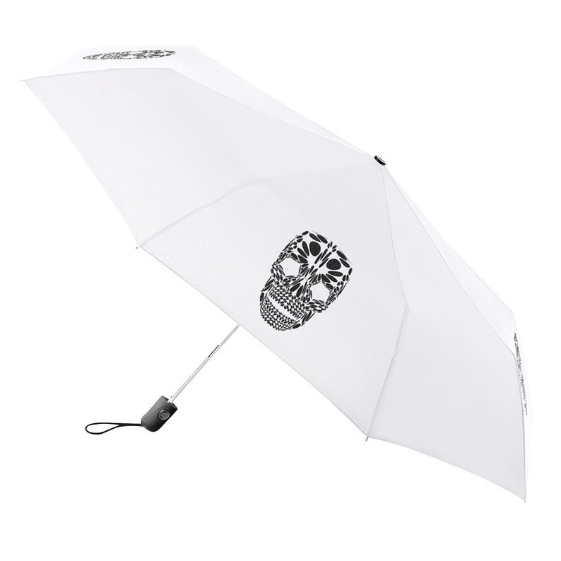 ec0d7d745eba Umbrella Compact Folding Auto Open Close Skull White - Under NY Sky