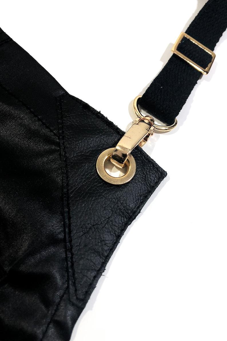 Barber Apron Leather Trim Water Resistant \u2013 S-M SIZE No-Tie Black Coated Golden Hardware