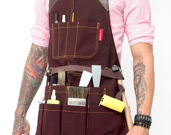 Tool Apron - Brown Waxed Canvas - Brown Leather