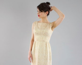 Vintage 1960s Suzy Perette Gold Party Dress / Brocade / Dipped V Back / XS/S