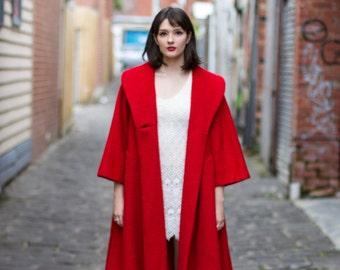 Vintage 1950s Paris LILLI ANN Red Coat / 1950s Swing Coat / Mohair Coat / Shawl Collar / Dolman Sleeves / M/L