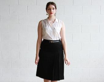 5c5e019e2 Vintage 1970s CELINE PARIS Black Wool Skirt / Made in France / Black  Pleated Skirt / M/L