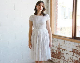 White Eyelet Dress with Belt