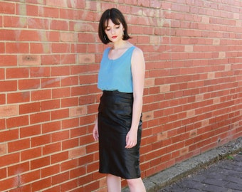 80s Leather Skirt Etsy