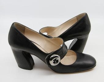 f99fba1e7 Vintage PRADA Black Leather Mary Jane Heels / 39