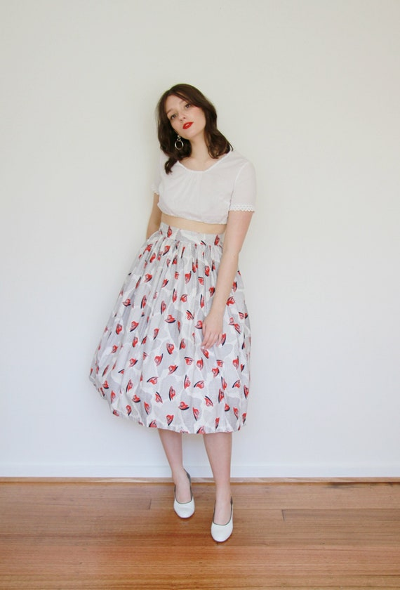 Vintage 1950s Novelty Print Skirt / Cotton HAT Ato