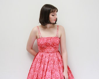 Vintage 1950s Raspberry Pink Sundress / Cotton 50s Dress / Shelf Bust / Full Skirt / 1950s Floral Dress / XXS/XS