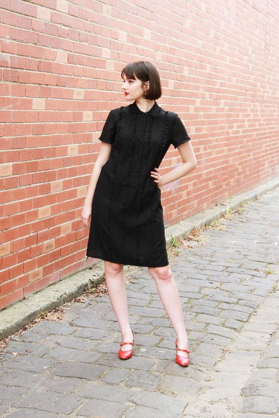 Vintage 1960s Black Ruffled Bib Black Dress / Butt
