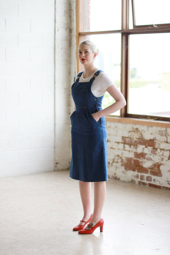 Vintage 1970s Indigo Denim Pinafore Dress / Overal