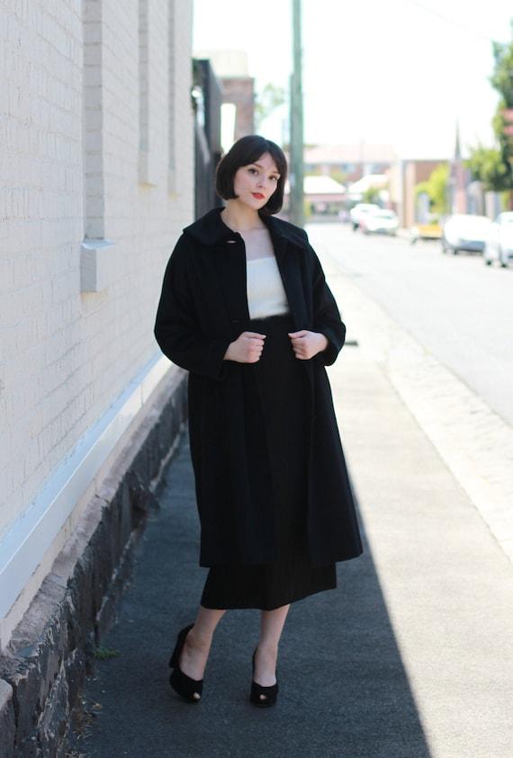Vintage 1950s LILLI ANN Black Wool Coat / S/M