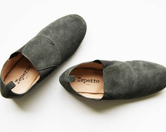 REPETTO PARIS Suede Shoes / Made in France / Green Shoe Booties / Suede Shoes / Repetto Paris Shoes / 37 EU / Size 6