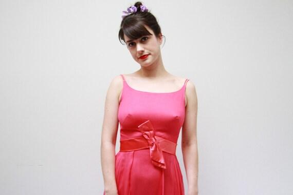 Vintage 1960s Magenta Pink Chiffon Party Dress / C