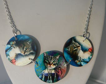 costume cats woodcut necklace