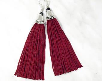 Red tassel earring Red fringe earring Long dangle earring Burgundy tassel earring Wine red earring Ruby red earring Silk tassel earring