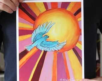 Blue Bird and Sun; Fine Art Print