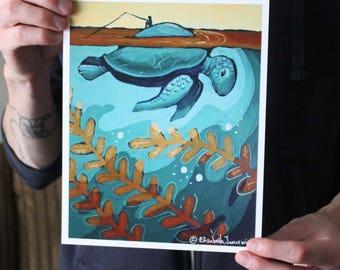 Giant Sea Turtle; Fine Art Print