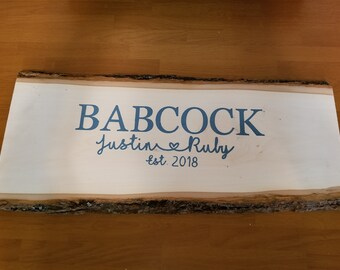 Live edge wood guest book/sign