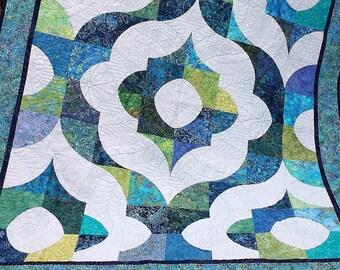 Modern Twin Quilt, Handmade Single Bed Quilt, Ready to Ship, Twin Size Quilt, Twin Bed Quilt, Twin Bedding, Blue Aqua Green Batik, Grey Gray