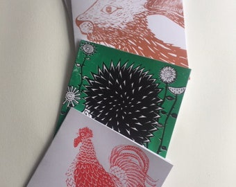Hand Printed A6 Linocut Greetings Cards Brown Recycled Card /& Envelope Cockerel Cat Kitten Farm Animal Lover Country Kitsch Celebrate Eco