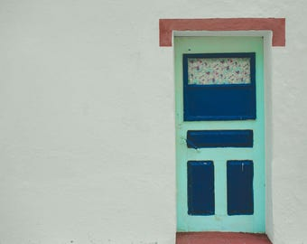 Old Turquoise blue door, Lagos Portugal, Colored Wood