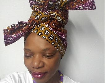 Headwrap, Brown and Purple