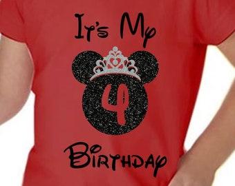 Disney Birthday Girl Shirt, Its My Birthday, Disney Birthday Shirt, Youth and Toddler Disney Princess Birthday Girl Shirt with glitter