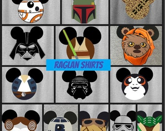 8cffd482 Star Wars RAGLAN Shirts, Disney Star Wars Shirts, Star Wars Matching  Shirts, Star Wars Family Shirts, Darth Vader, Princess Leia, R2D2, Rey