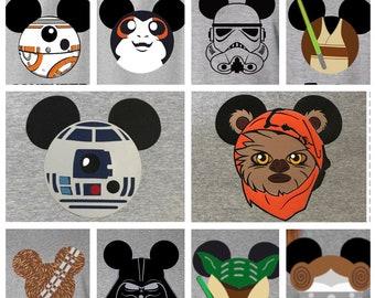 Star Wars Shirts, Disney Star Wars Shirts,  Star Wars Matching Shirts, Star Wars Family Shirts, Darth Vader, Princess Leia, R2D2, Jed