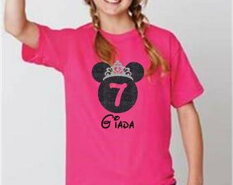 Disney Birthday Girl shirt - Disney Birthday Shirt - YOUTH Disney Princess Birthday Girl shirt with glitter.  Birthday Gift! Family vacation